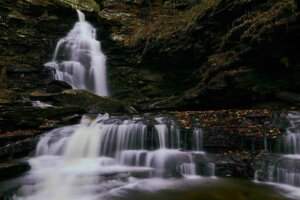 calm and soothing waterfall photograph